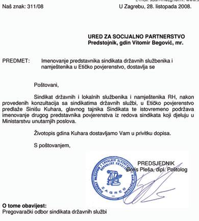 Iako je SDLSN svog predstavnika u Etičko povjerenstvo predložio još u listopadu 2008. godine, Vlada se odlučila za drugog kandidata