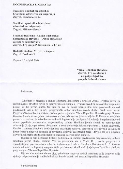 Zahtjev Sindikata U Hzz Hzzo I Miorh Za Sudjelovanjem U