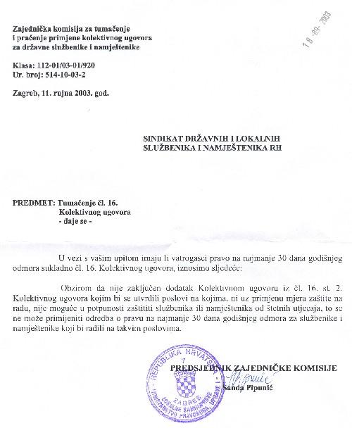 Tumačenje čl. 16 Kolektivnog ugovora, odgovor Zajedničke komisije