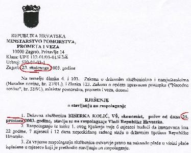Rješenje o stavljanju na raspolaganje donijeto je u nedjelju 23. studenoga, a stavljanje na raspolaganje počinje teći od Božića, 25. prosinca. Ministar Žuvanić potpisuje zaista originalne božićne čestitke.