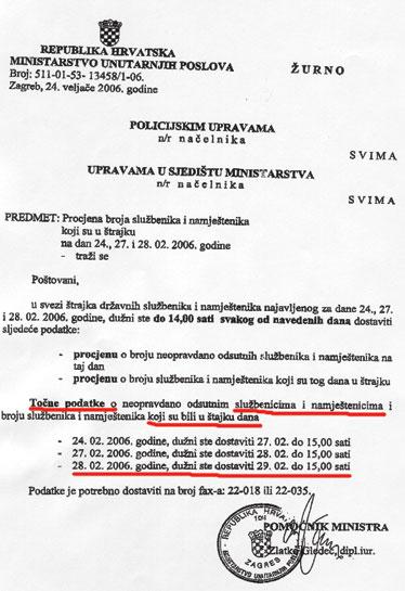 Pomoćnik ministra Zlatko Gledec naložio je dostavu podataka o štrajkašima do 29. veljače u 15 sati, ali nije naznačio koje godine?