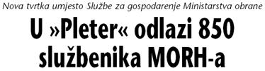 Naslov iz Vjesnika kojim je 2005. najavljeno izdvajanje Službe za gospodarenje nekretninama MORH-a