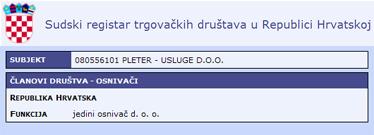 Jedini osnivač tvrtke Pleter - usluge d.o.o. je Republika Hrvatska