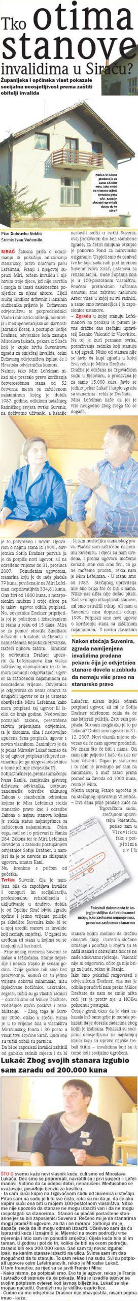 Bjelovarski neovisni tjednik REGIJA o slučaju Sirač