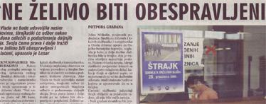Glas Slavonije o štrajku sindikata državnih službi