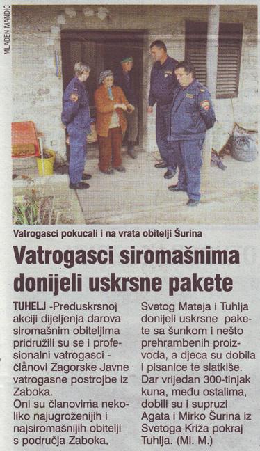 Večernji list o uskršnjoj humanitarnoj akciji naših članova u Zagorskoj JVP iz Zaboka