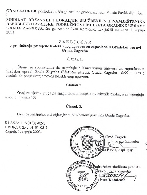 Zaključak o produženju primjene kolektivnog ugovora za zaposlene u Gradskoj upravi Grada Zagreba