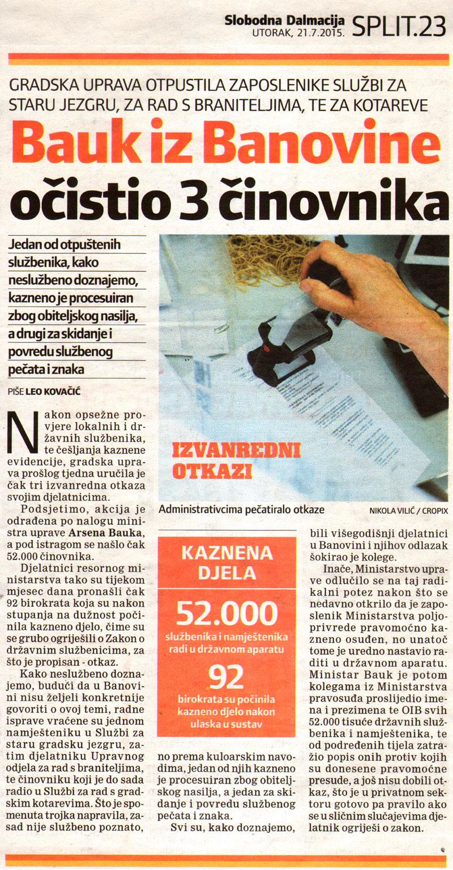 "SLOBODNA DALMACIJA o ""čiščenju"" službenika iz Banovine"