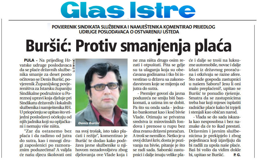Denis Buršić u Glasu Istre protiv smanjenja plaća koje traži HUP
