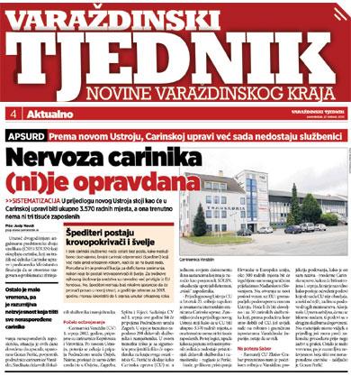 Varaždinski tjednik o novom ustroju Carinske uprave