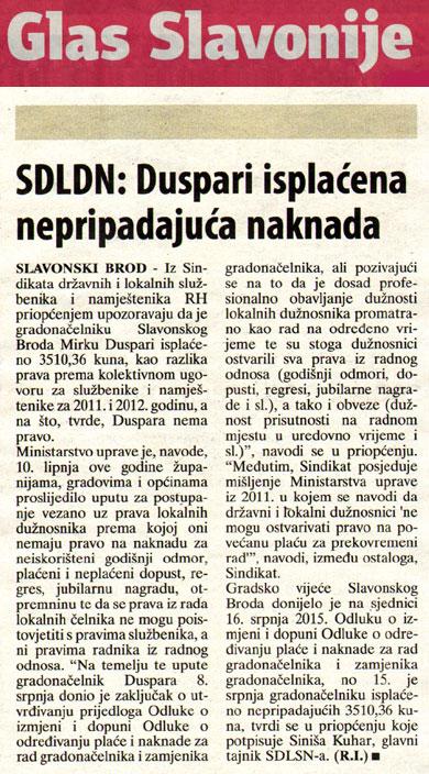 GLAS SLAVONIJE o isplati materijalnih prava gradonačelniku Slavonskog Broda
