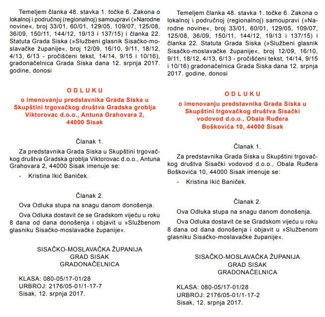 Isto odvjetničko društvo angažirano u Gradu Sisku i svim gradskim tvrtkama