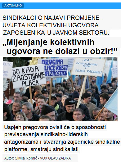 """""""Mijenjanje kolektivnih ugovora ne dolazi u obzir!"""""""
