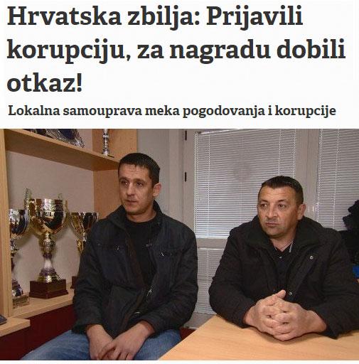 Hrvatska zbilja: Prijavili korupciju, za nagradu dobili otkaz!