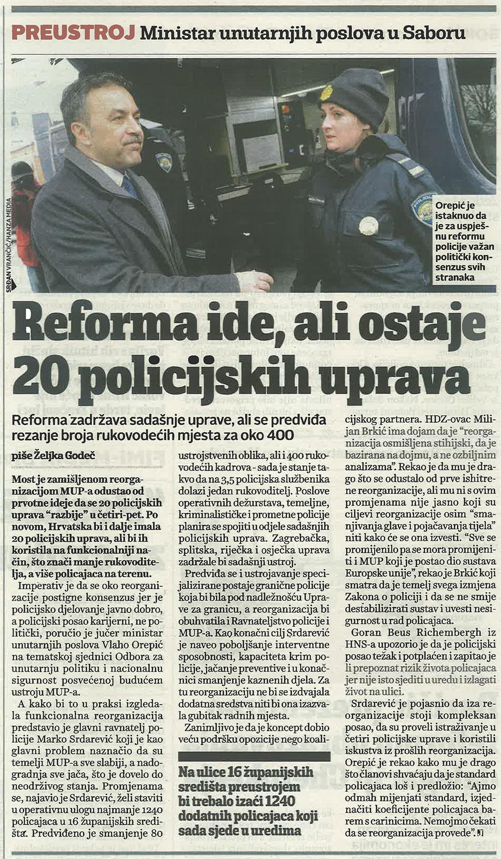 JutarnjiLIST o Orepićevoj reformi MUP-a uz zadržavanje 20 policijskih uprava
