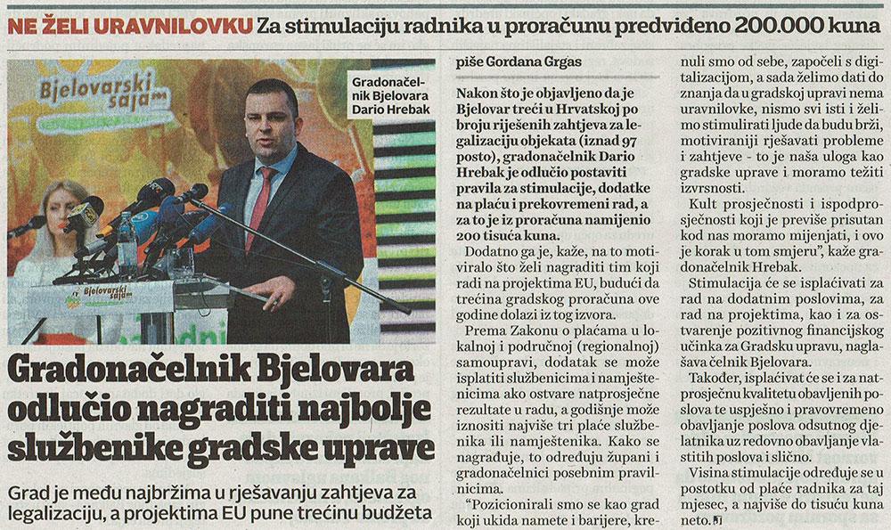 JutarnjiLIST o nagrađivanju službenika u Gradu Bjelovaru