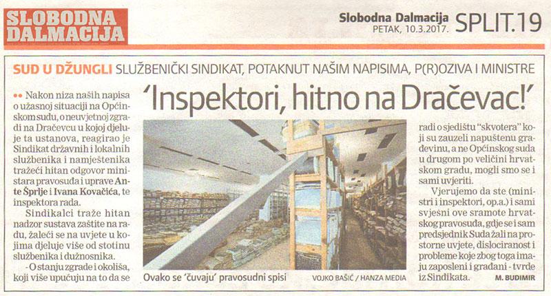 SLOBODNA DALMACIJA o reagiranju SDLSN na uvjete rada u Općinskom sudu u Splitu