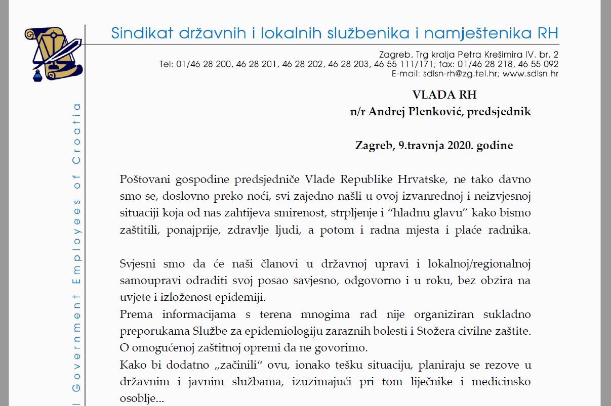 Otvoreno pismo Sindikata državnih i lokalnih službenika i namještenika Republike Hrvatske upućeno predsjedniku Vlade RH Andreju Plenkoviću