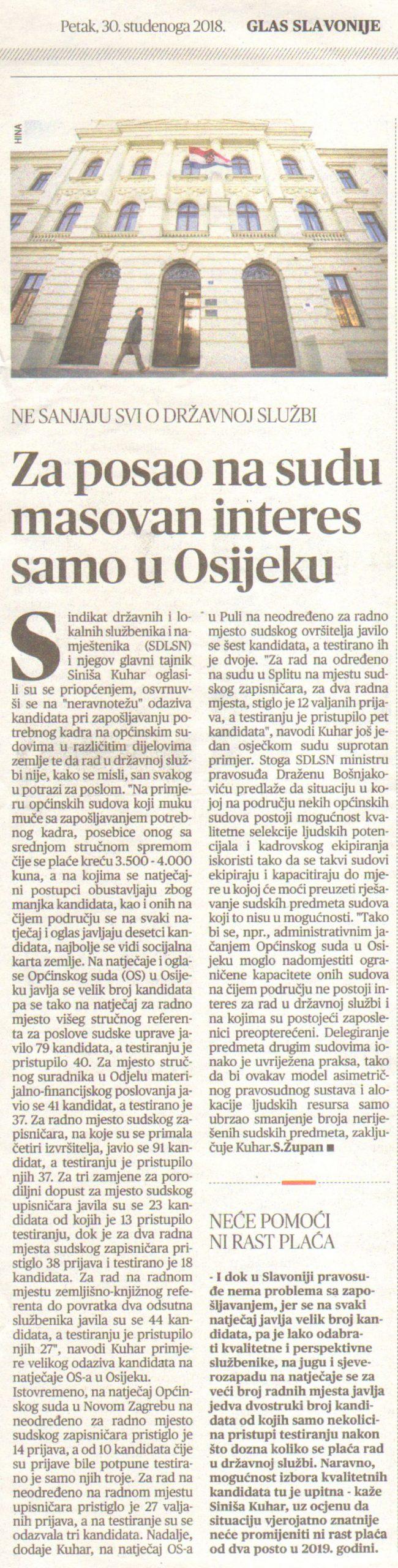 Za posao na sudu masovan interes samo u Osijeku