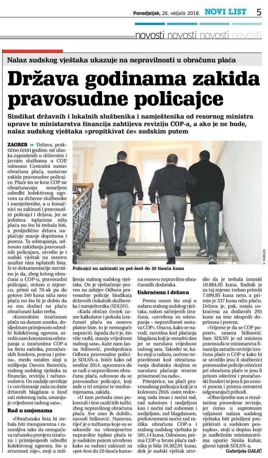 NOVI LIST o nalazu sudskog vještaka kojim se osporava obračun plaća pravosudnih policajaca u COP-u