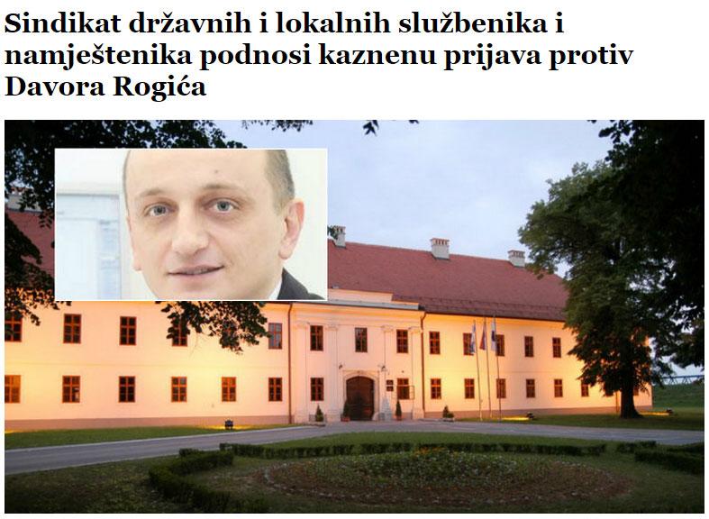 Sindikat državnih i lokalnih službenika i namještenika podnosi kaznenu prijava protiv Davora Rogića