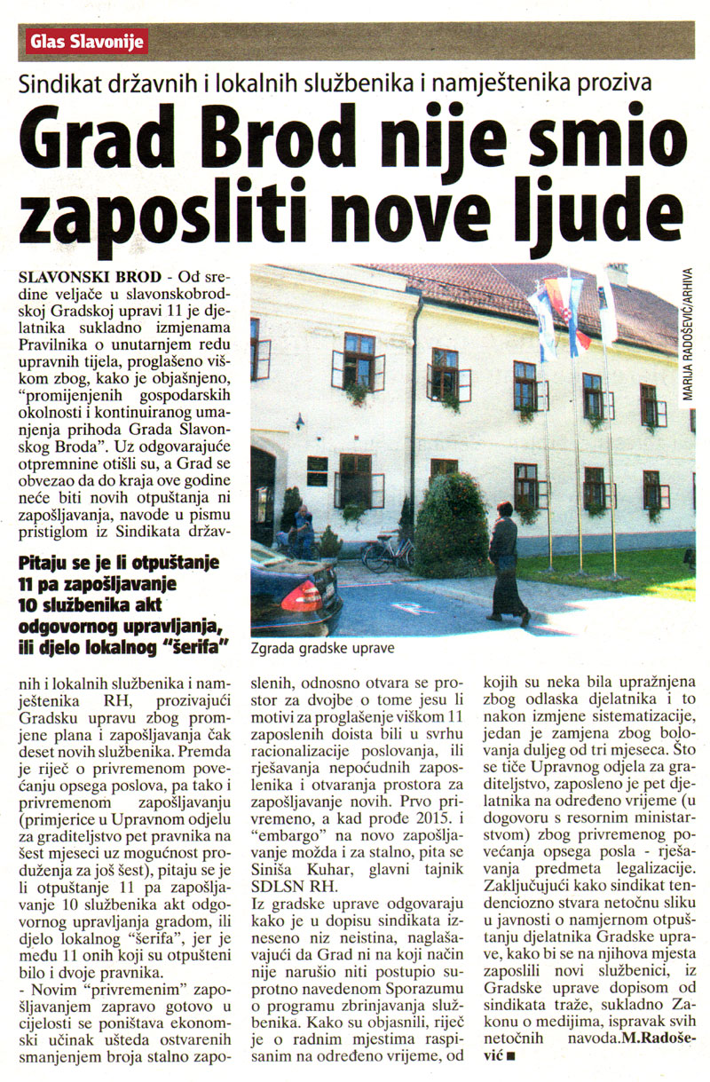 GLAS SLAVONIJE o novom zapošljavanju u Slavonskom Brodu