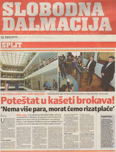 SLOBODNA DALMACIJA o najavi smanjenja plaća u gradu Splitu