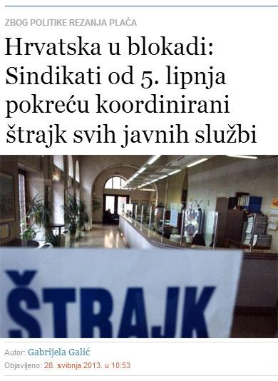 Sindikati od 5. lipnja pokreću koordinirani štrajk svih javnih službi