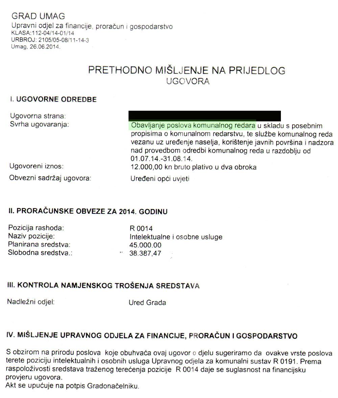 Grad Umag zaključivao ugovore o djelu za poslove iz samoupravnog djelokruga