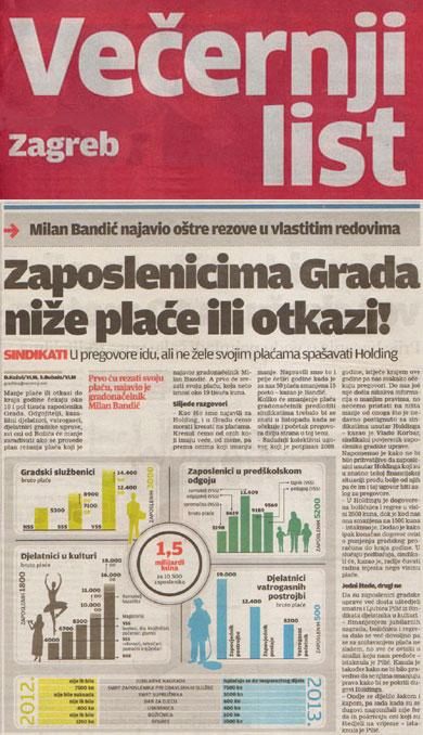 VEČERNJI LIST o najavi smanjenja plaća u Gradu Zagrebu