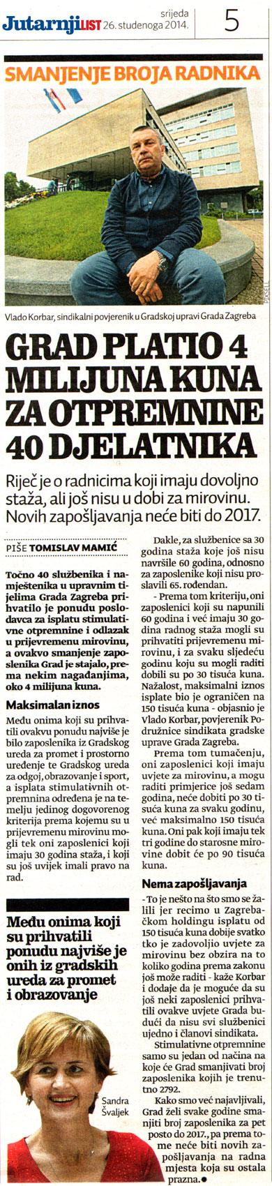 JUTARNJI LIST o smanjenju broja zaposlenih u Gradu Zagrebu