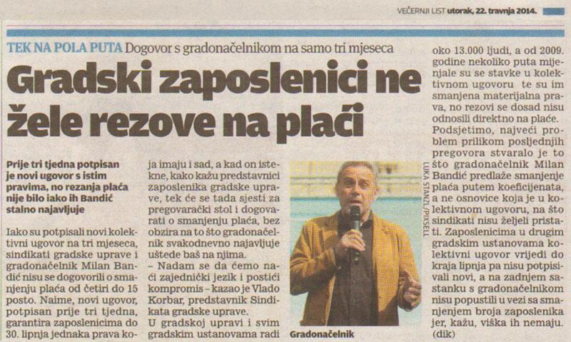 VEČERNJI LIST o pregovorima u Gradu Zagrebu