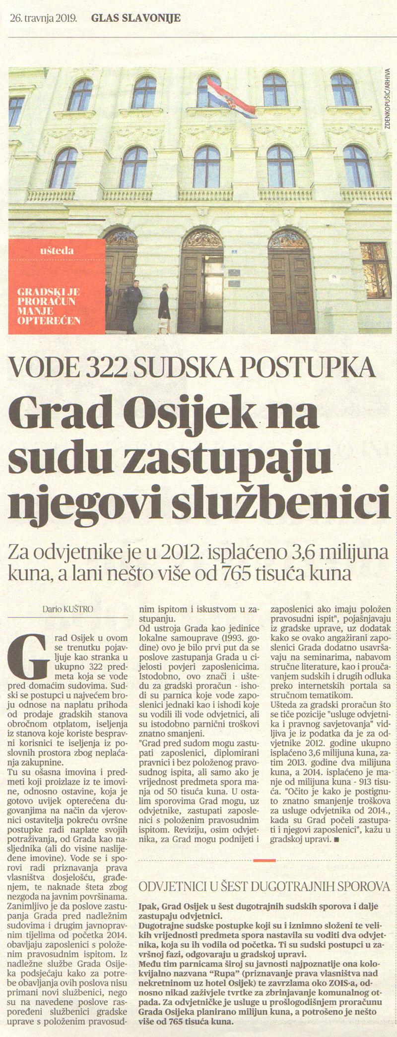 Grad Osijek na sudu zastupaju njegovi službenici