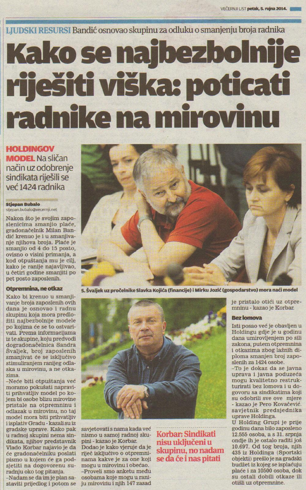 VEČERNJI LIST o zbrinjavanju viška zaposlenih u Gradu Zagrebu