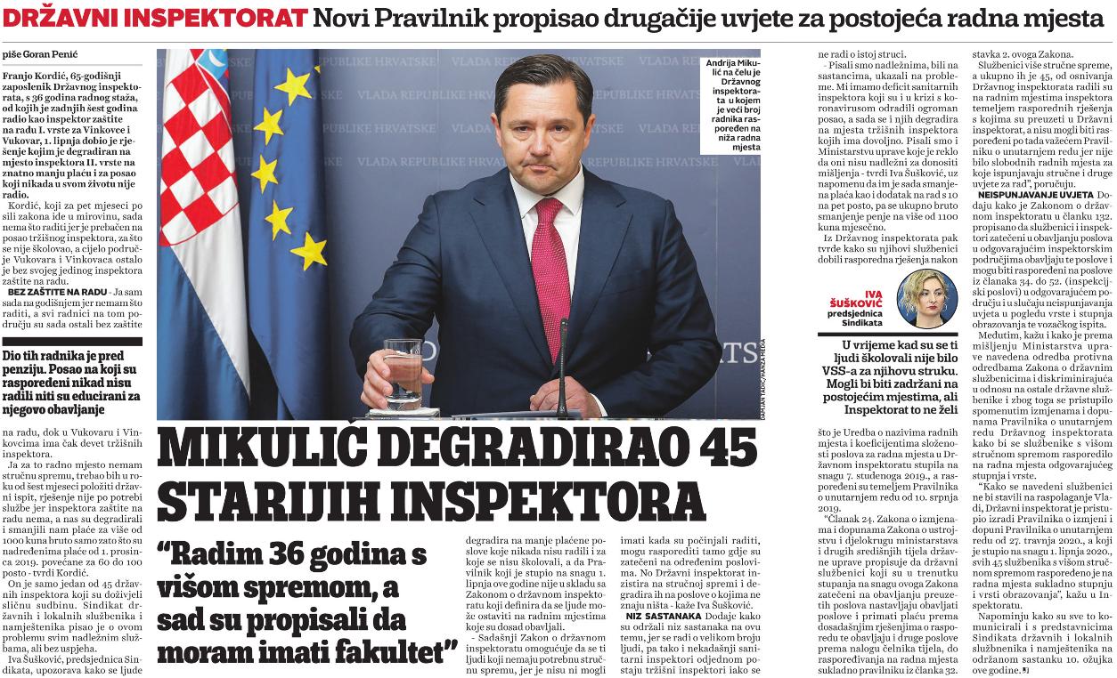 Mikulić degradirao 45 starijih inspektora