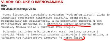 Iako objavljena, vijest o imenovanju Marka Šarića pokazala se netočnom