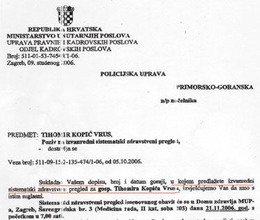 Zahtjevu načelnika PU Grbića udovoljeno je iz sjedišta MUP-a