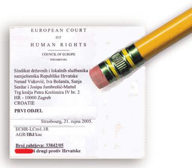 """Prihvaćanjem nagodbe sa Sindikatom Vlada Republike Hrvatske može jednim potezom """"izbrisati"""" više od 2.000 tužbi pred Europskim sudom za ljudska prava u Strasbourgu"""