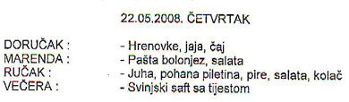 Ovako izgleda sutrašnji menu u jednom od hrvatskih zatvora, uz napomenu da je marenda namijenjena zatvorskim čuvarima, a ne zatvorenicima