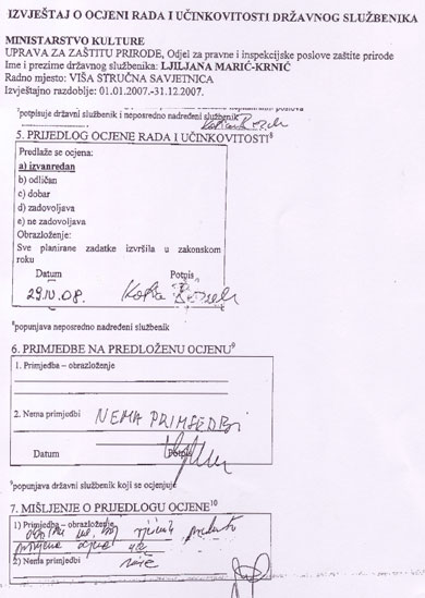 """Ocjena službenice Marić-Krnić pala je s """"izvanredan"""" na """"dobar"""" po nalogu državnog dužnosnika koji ju nema pravo ocjenjivati. Može li druge godine službenica očekivati i ocjenu """"ne zadovoljava""""?"""