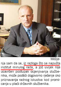 Ovako je za Sindikalni list o ukidanju dodatka za minuli rad govorio predsjednik Povjerenstva za izradu Zakona o plaćama državnih službenika, Zoran Pičuljan, 12. rujna 2007. godine