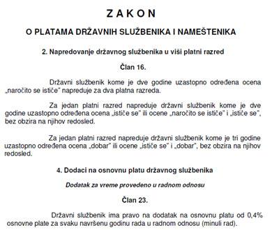 """Da je moguće """"pomiriti"""" ocjenjivanje i minuli rad pokazuje i primjer Srbije koja je svoj Zakon o plaćama donijela još 2006. godine i za njega dobila pohvale od SIGME. Treba li reči da Hrvatska nije pohvaljena?"""